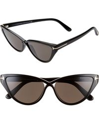 Tom Ford Charlie 55mm Cat Eye Sunglasses - Shiny Black/ Smoke