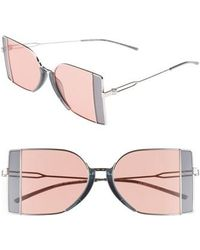 Calvin Klein - 51mm Butterfly Sunglasses - Nickel - Lyst