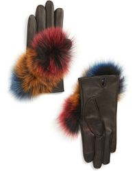 Echo - Lambskin Leather Touchscreen Gloves With Genuine Fox Fur Trim - Lyst