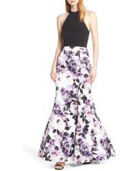 458963ddf93f Blondie Nites - Floral Print Lattice Back Evening Dress - Lyst