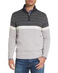 Jeremy Argyle Nyc - Colorblock Wool Blend Quarter Zip Pullover - Lyst