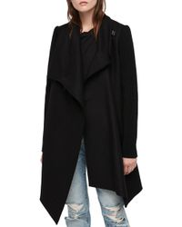 AllSaints - Monument Ribbed Sleeve Coat - Lyst