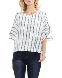 Vince Camuto   Ruffle Sleeve Stripe Blouse   Lyst