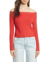 FRAME - Off The Shoulder Crop Sweater - Lyst