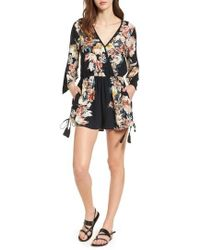 Band Of Gypsies - Floral Print Surplice Romper - Lyst