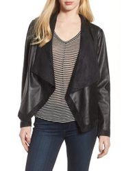 BB Dakota - Teagan Faux Leather Drape Front Jacket - Lyst
