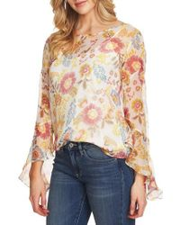 Vince Camuto - Flared Sleeve Floral Top - Lyst