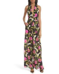 MILLY - Large Calla Lily Silk Halter Jumpsuit - Lyst