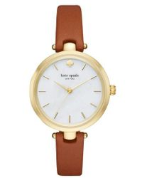 Kate Spade - 'holland' Round Leather Strap Watch - Lyst