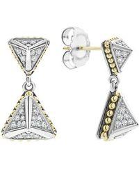 Lagos - Ksl Lux Double Diamond Pyramid Drop Earrings - Lyst