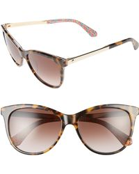 Kate Spade - Jizelle 55mm Gradient Lenses Cat Eye Sunglasses - Havana/ Pattern Green - Lyst
