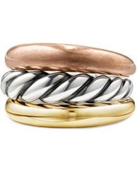 David Yurman - Pure Form Mixed Metal Three-row Ring With Bronze - Lyst