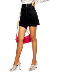TOPSHOP - Denim Buckle Wrap Skirt - Lyst