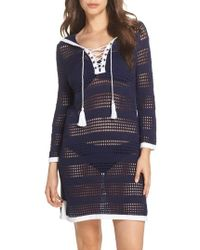 Tommy Bahama | Open Stitch Hooded Cover-up Sweater Dress | Lyst