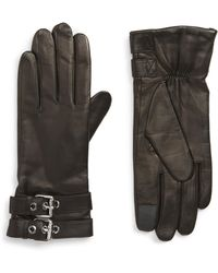 AllSaints - Buckled Leather Gloves - Lyst