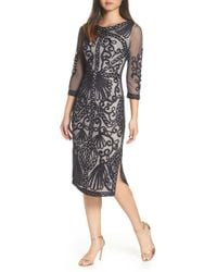 JS Collections - Sheer Sleeve Soutache Sheath Dress - Lyst