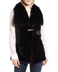 Via Spiga - Faux Fur Vest With Buckle - Lyst