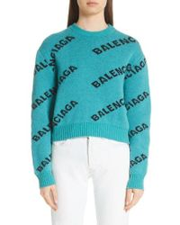 Balenciaga - Wool Blend Logo Jacquard Sweater - Lyst