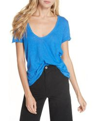 Free People - We The Free By Saturday Lace Trim Linen Blend Tee - Lyst