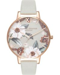 Olivia Burton - Bejewelled Leather Strap Watch - Lyst