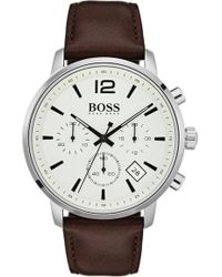 BOSS - Attitude Chronograph Leather Strap Watch - Lyst