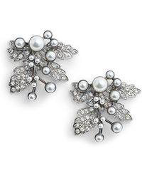 Badgley Mischka - Imitation Pearl Crystal Leaf Earrings - Lyst