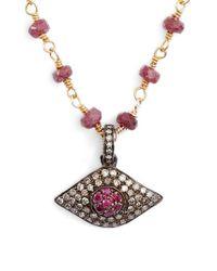 Ela Rae - Phoebe Diamond Evil Eye Pendant Necklace - Lyst