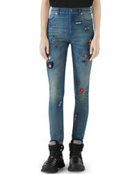 Gucci - Patch Embellished Skinny Jeans - Lyst