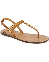 92fb28ce2ed7 Lyst - Valentino Brown Rockstud Thong Sandal in Brown