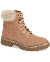 Steve Madden - Alaska Lace-up Bootie With Faux Fur Cuff - Lyst