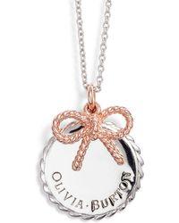 Olivia Burton - Coin & Bow Pendant Necklace - Lyst