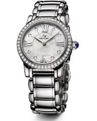 David Yurman - 'classic' Stainless Steel Quartz With Diamond Bezel - Lyst