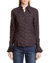 Michael Kors Ruffle Cuff Vintage Floral Print Shirt