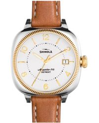 Shinola - The Gomelsky Square Leather Strap Watch - Lyst