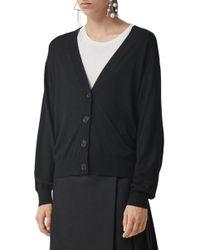 Burberry - Dornoch Check Detail Merino Wool Cardigan - Lyst