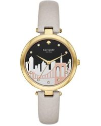 Kate Spade - Varick Leather Strap Watch - Lyst