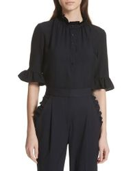Rebecca Taylor - Hammered Silk Ruffle Blouse - Lyst