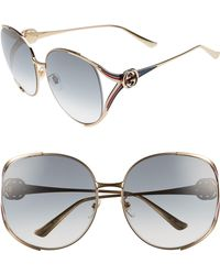 1e35e39030 Lyst - Gucci Horsebit Hinge Leather Temple Acetate Sunglasses in Black