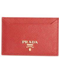 e33ac4e906dd Prada Saffiano Bicolor Wristlet in Red - Lyst