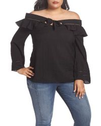 Lost Ink - Ruffle Tie Off The Shoulder Top - Lyst