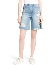 Habitual - Wylie High Rise Distressed Bermuda Denim Shorts - Lyst