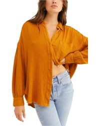 Free People Blouson Sleeve Button-up Shirt - Yellow