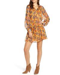 Scotch & Soda - Metallic Stripe Floral Print Dress - Lyst