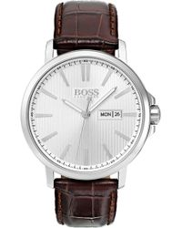 BOSS - Round Emed Leather Strap Watch - Lyst