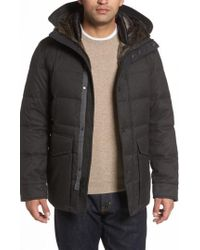 Cole Haan - Faux Fur Trim Mixed Media Hooded Down Jacket - Lyst