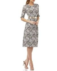 Kay Unger - Elbow-sleeve Belted Sheath Dress - Lyst