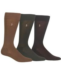 Polo Ralph Lauren - Assorted 3-pack Supersoft Socks, Brown - Lyst