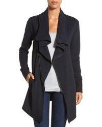 Caslon - Caslon Asymmetrical Drape Collar Terry Jacket - Lyst