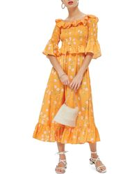 TOPSHOP - Shirred Ruffle Midi Dress - Lyst