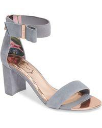0c3cde736d Ted Baker Kerrias Block Heel Sandal in Blue - Lyst
